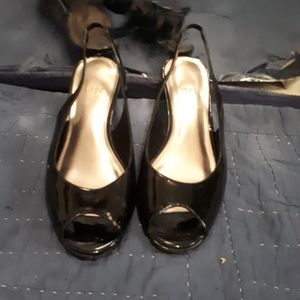 Impo black peek toe sling back wedge heel